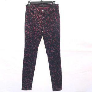 J BRAND Super Skinny Mulberry Brocade Velvet Pants